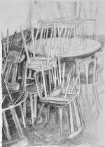 Lockdown (Corona) 6, Zeichnung Kohle auf Papier, 84x59cm, 2020