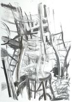 Ausgangssperre Corona 5, Zeichnung Kohle auf Papier,84x59cm, 2020