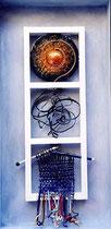 les trois mondes (fils, tubes, plaques martelées émaillés, bois, acrylique) 50x100 cm