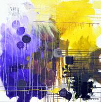 """ohne Titel, 80x80, Acryl auf Leinwand, 2019 aus der Serie """"Farbige Wortbilder"""""""