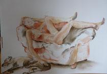 akt und hund pastell 70x50 (sold)