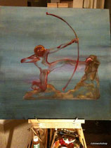 Hercules the Archer (inspired by Bourdelle) Oil on canvas 80x80