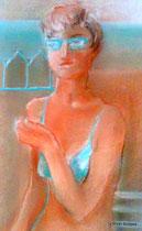 blue bikini (detail), pastels on paper 30x22