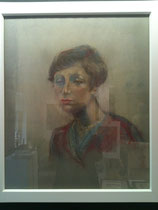 portrait jeune femme pastels on paper