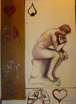 love all d'apres Rodin, oil and acrylic on canvas
