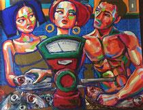 """*Robson Reismarques, Nr. 13, """"Markets"""", 2017, acrylic on canvas, 179 x 140 cm, verkauft"""