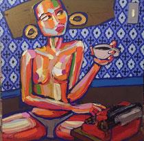 *Robson Reismarques, Nr. 6, no title, 2017, acrylic on canvas, 120 x 120 cm, verkauft
