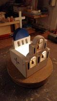 houten sfeerlicht Grieks kerkje met klokjes waxinelichtje uniek bijzonder_14