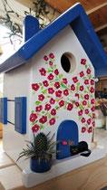 Houten nestkastje beschilderd Grieks huis kat zwart wit