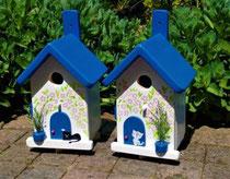 Houten nestkastje beschilderd Grieks huis kat zwart wit_2