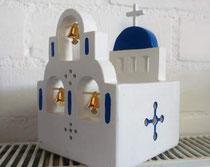 houten sfeerlicht Grieks kerkje met klokjes waxinelichtje uniek bijzonder_1