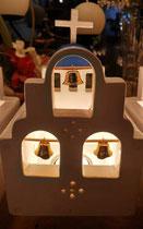 houten sfeerlicht Grieks kerkje met klokjes waxinelichtje uniek bijzonder_3