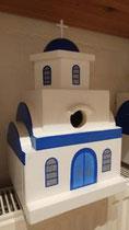 houten nestkastje Grieks kerk beschilderd blauw wit_5