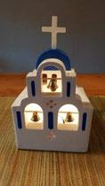 houten sfeerlicht Grieks kerkje met klokjes waxinelichtje uniek bijzonder_6