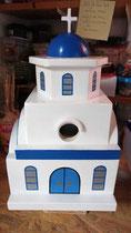 houten nestkastje Grieks kerk beschilderd blauw wit_4