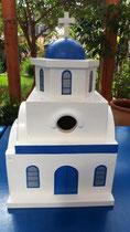 houten nestkastje Grieks kerk beschilderd blauw wit