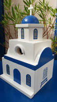 houten nestkastje Grieks kerk beschilderd blauw wit_2