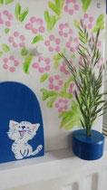 Houten nestkastje beschilderd Grieks huis kat zwart wit_4