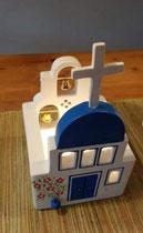 houten sfeerlicht Grieks kerkje met klokjes waxinelichtje uniek bijzonder_5
