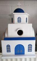 houten nestkastje Grieks kerk beschilderd blauw wit_3
