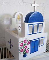 houten sfeerlicht Grieks kerkje met klokjes waxinelichtje uniek bijzonder