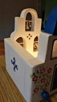 houten sfeerlicht Grieks kerkje met klokjes waxinelichtje uniek bijzonder_4