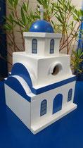 houten nestkastje Grieks kerk beschilderd blauw wit_1