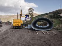 Baumaterial an der Grenze (Armenien)