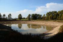Langsam füllte sich der neu entstandene Teich