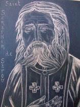 9 - Saint Seraphim de Sarov - pastel blanc fond bleu marine - 2012