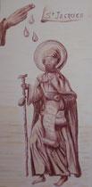 29 - Saint Jacques - DON petite chapelle du 12e siècle à SENSACQ dans les Landes - pastel lie de vin sur toile coton dimension 1mx0,50m - 2013