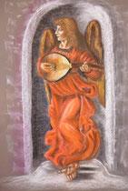 149 - Ange jouant du Luth d'après une oeuvre de Léonard de Vinci - dimensions 50x65 pastels secs - non encadré -