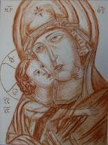 8 - Vierge de tendresse de Vladimir - sanguine - 2012