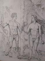 137 - Adam et Eve d'après une œuvre de Durer - dimensions 50x65 - mine de plomb - encadré