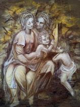 167 - Sainte Anne, la Vierge et l'enfant, Saint Jean Baptiste d'après une oeuvre de Léonard de Vinci - pastels secs - dimensions 50x65 - non encadré - 2020