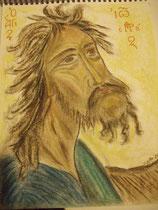2 - saint Jean Le Baptiste (visage) - pastel - 2012 -  vendu
