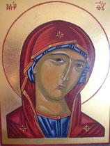 visage de la Vierge - icone écrite en 2011 - dimensions 20x26,50 -  or libre 23 carats 3/4 - VENDU