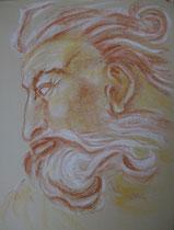 21 - Visage du Christ Détail Chapelle Sixtine oeuvre de Michel Ange- pastel - 2013   l