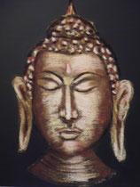 148 - visage de bouddha - pastels secs sur toile - dimensions 40x40