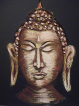 148 - visage de bouddha - pastels secs sur toile - dimensions 40x40 - cadeau -