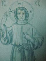 20 - Christ adolescent - pastel sur papier velours vert tendre - 2013 - don