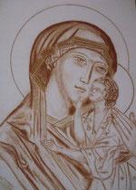 6 - Vierge de tendresse de Yaroslavl - sanguine - 2012