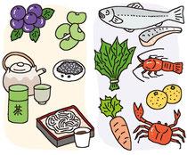 食品 食材 ぶどう 豆 お茶 ごま そば魚 ホウレンソウ 海老 みかん にんじん カニ