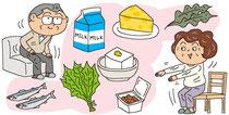 食品 食材 健康 カルシウム 魚 野菜 豆 海藻 運動