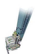 建設 建物 新宿 Newoman ミライナタワー 俯瞰
