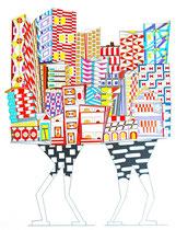 Technique mixte - dimensions 57x76 cm - Stylo, feutre noir , peinture