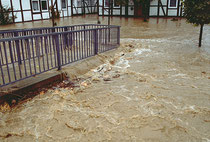 Nicht jedoch bei Hochwasser....dann kann der Kanal die Wassermassen nicht aufnehmen.