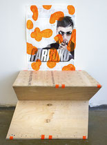 """""""Untitled"""". Size variable. Found poster, acrylic, duct tape and wood. 2014."""