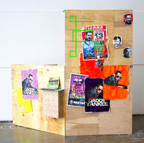 """Untitled Installation"". Size variable. Found signs, acrylic, tape and wood. 2013"