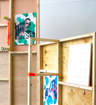 """""""Untitled Installation"""" (back view). Size variable. Found signs, acrylic, tape and wood. 2013"""